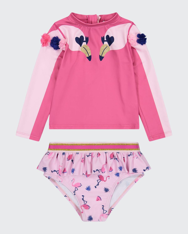 Girl's Flamingo-Print Pompom Ruffle 2-Piece Rash Guard Set