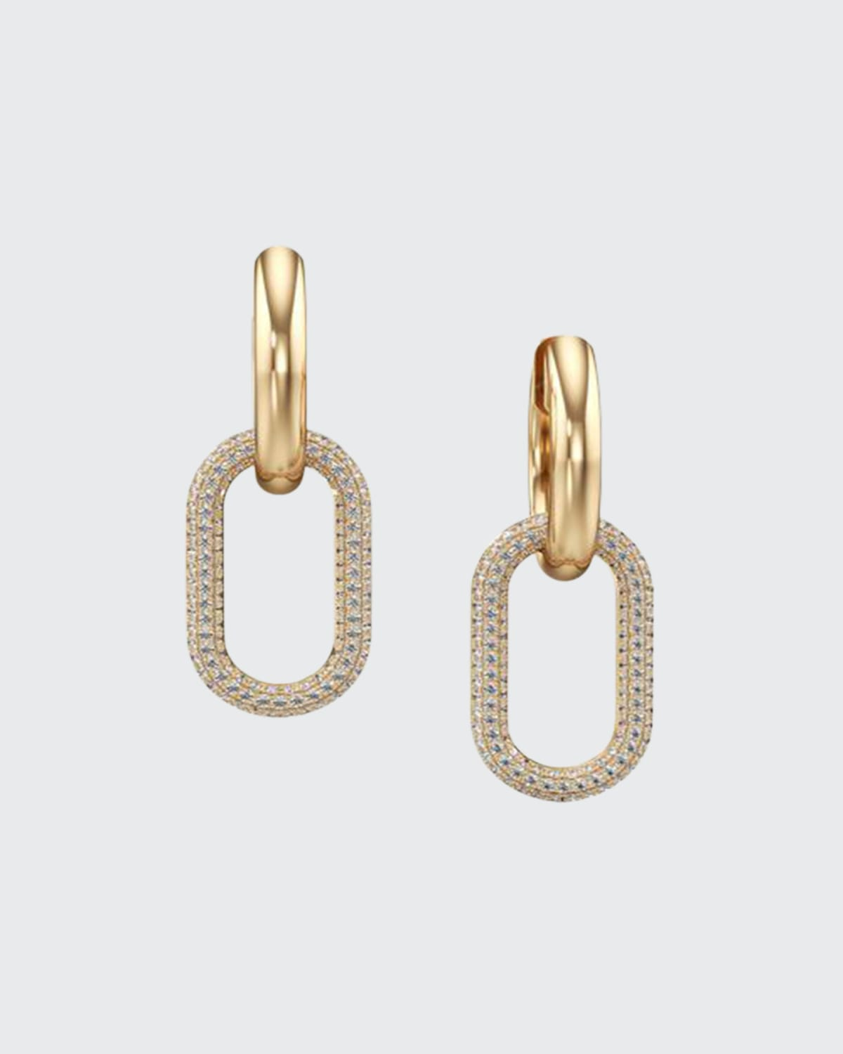 Gold and Diamond Pave Link Earrings