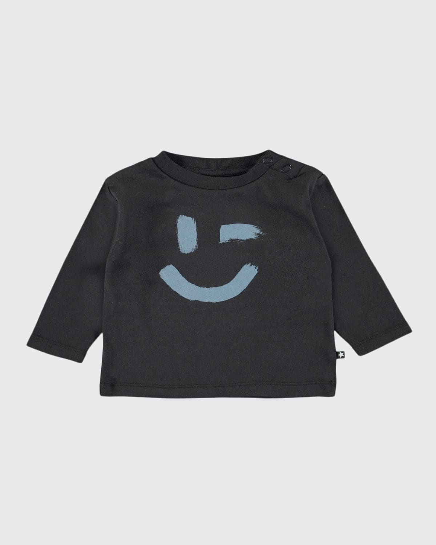 Boy's Eki Winking Smiley Face Long-Sleeve Shirt