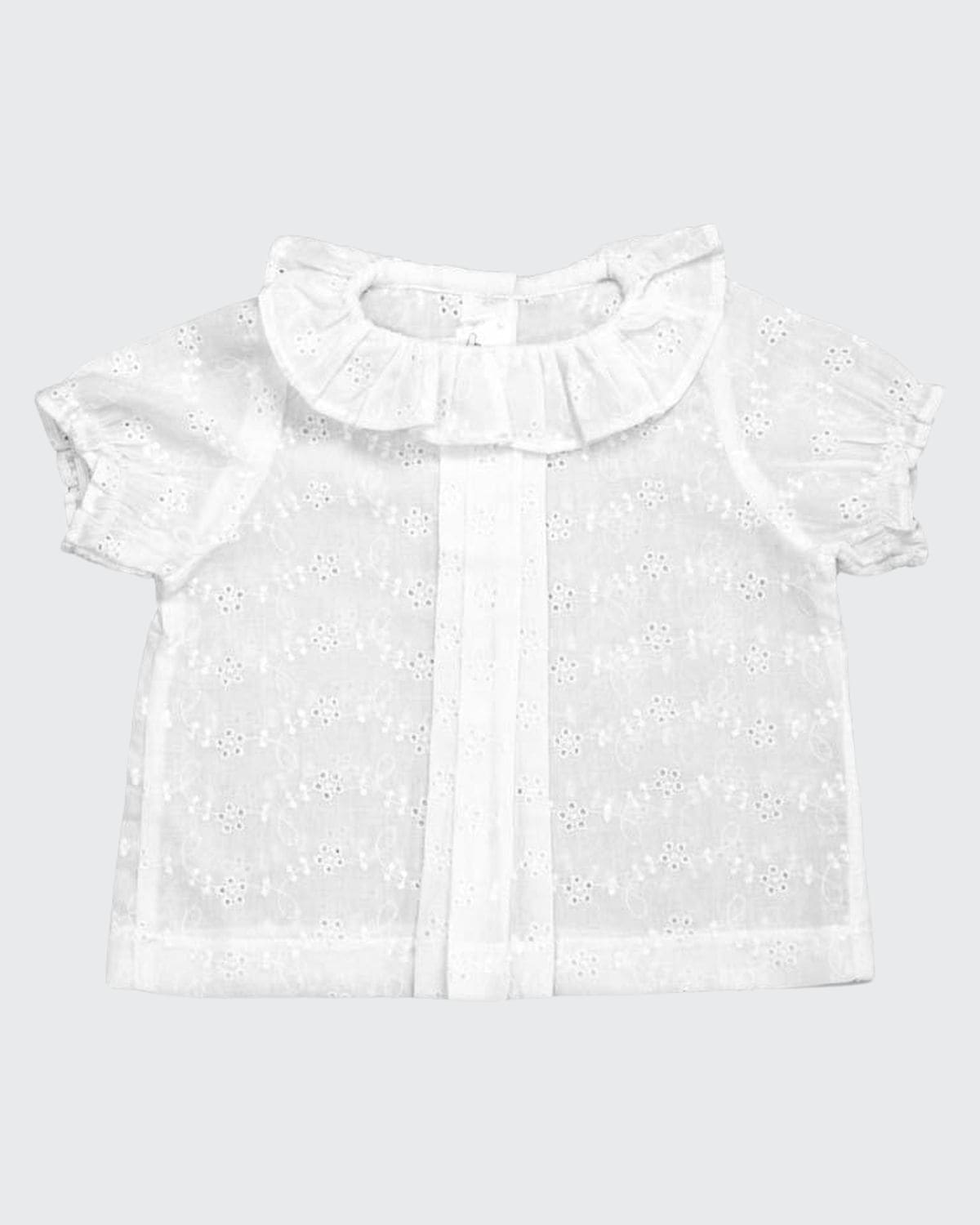 Girl's Eyelet Embroidered Ruffle Blouse