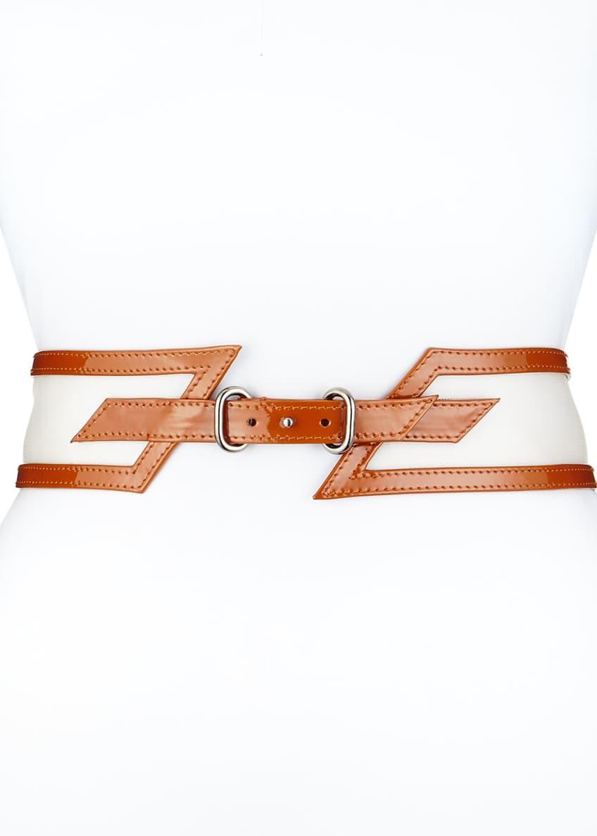 Carolina Herrera Wide Patent-Leather Belt, Clay