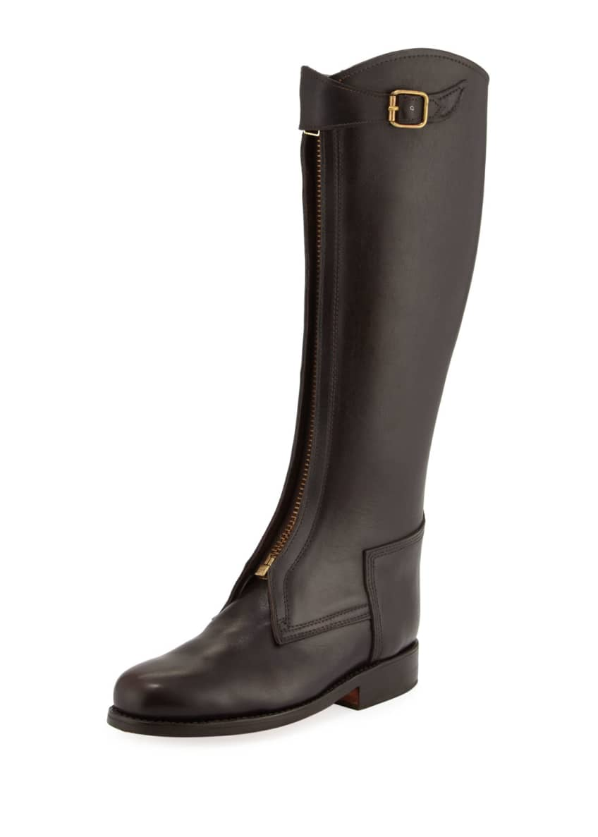 Chufy Zip-Front Leather Riding Boot, Brown & Matching