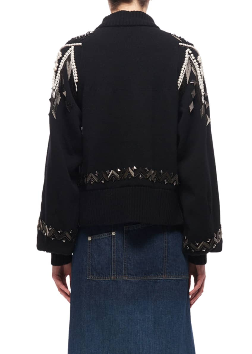 Image 2 of 5: Bead-Embroidered Turtleneck Sweater