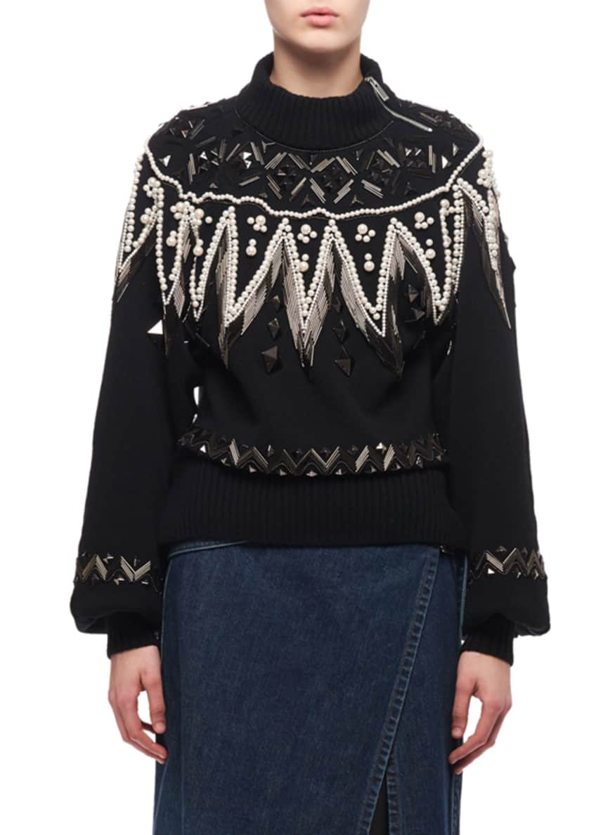 Image 1 of 5: Bead-Embroidered Turtleneck Sweater