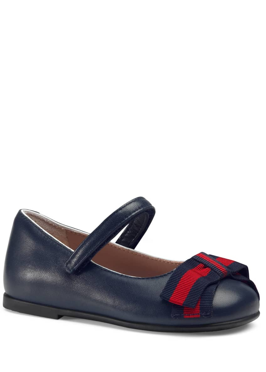 Gucci Leather Ballet Flats w/ Web Bow, Toddler/Kids