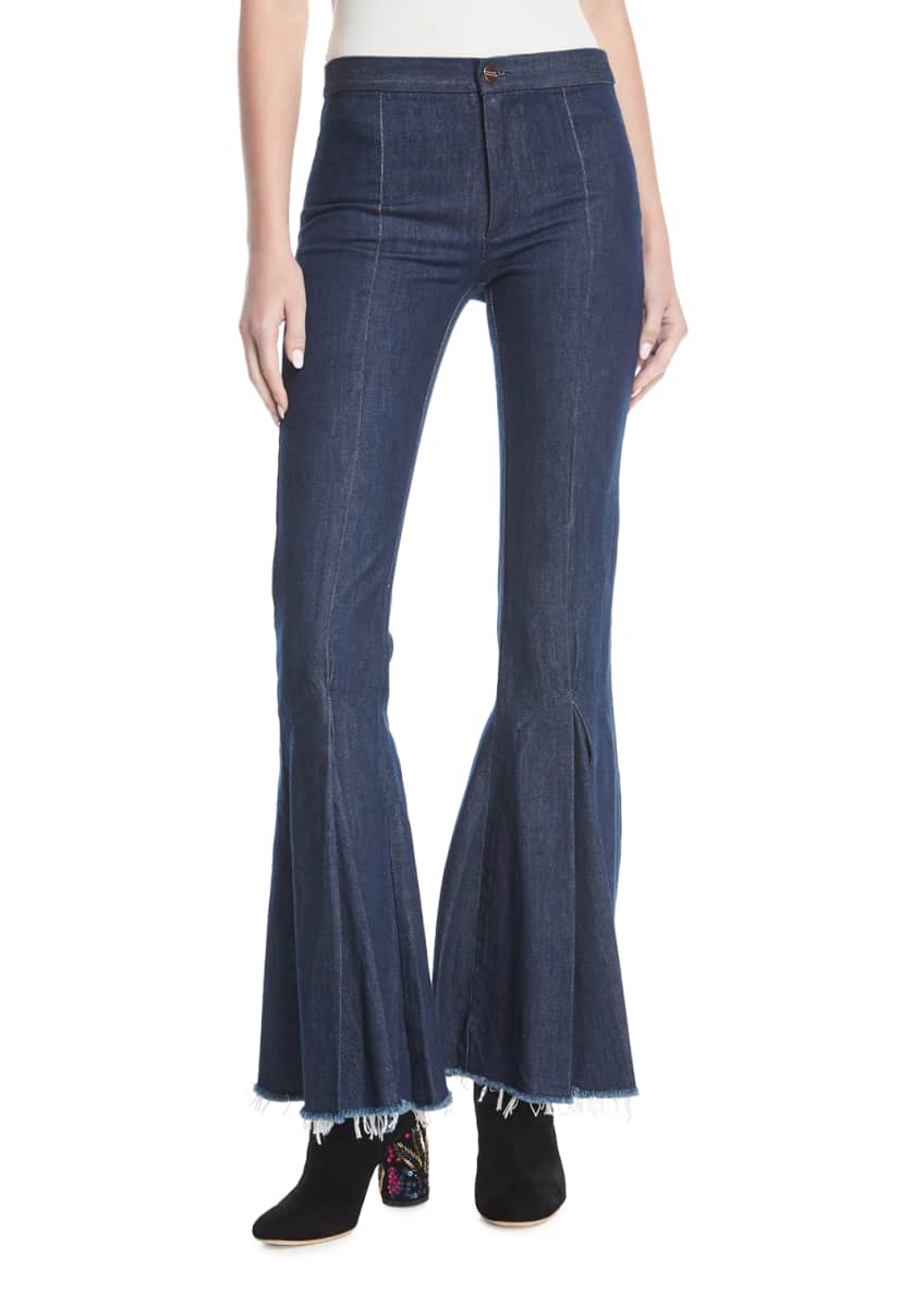 Maggie Marilyn Dreamer Mid-Rise Pleated Flared Denim Pants