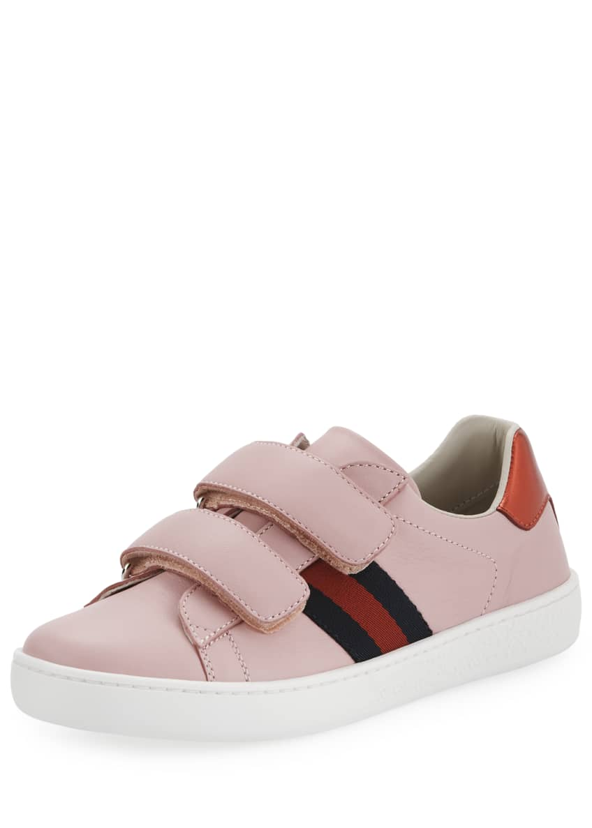 Gucci New Ace Web-Trim Leather Sneaker, Toddler &