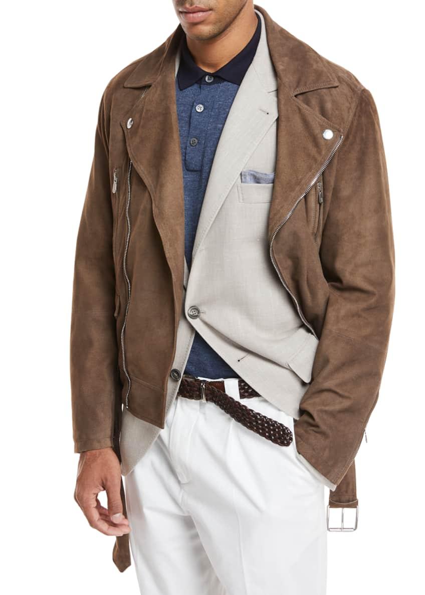 Brunello Cucinelli Suede Asymmetric Moto Jacket & Matching