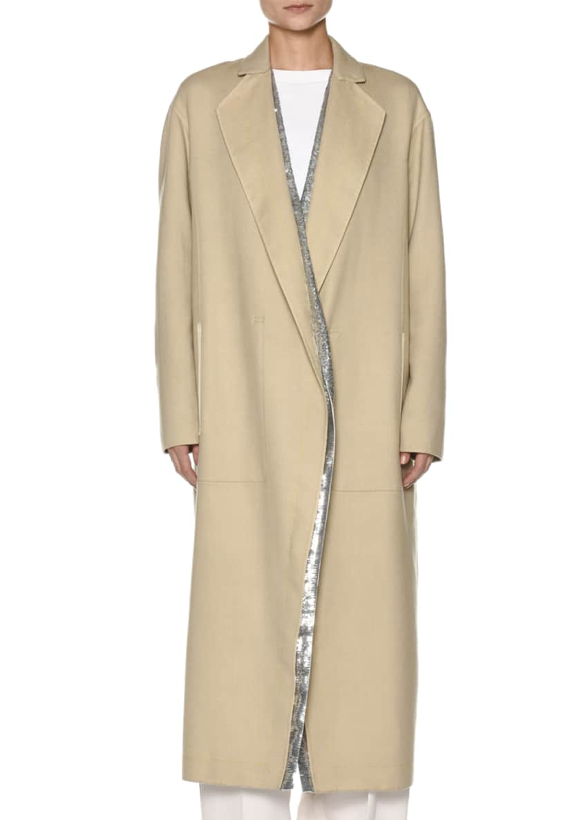 Agnona Century Cashmere Coat w/Sequined Panel Lining &