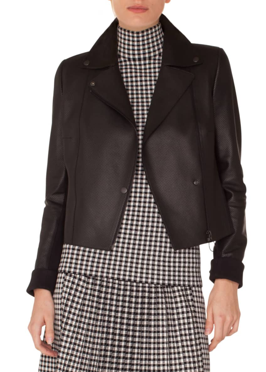 Akris punto Zip-Front Perforated Leather Biker Jacket &