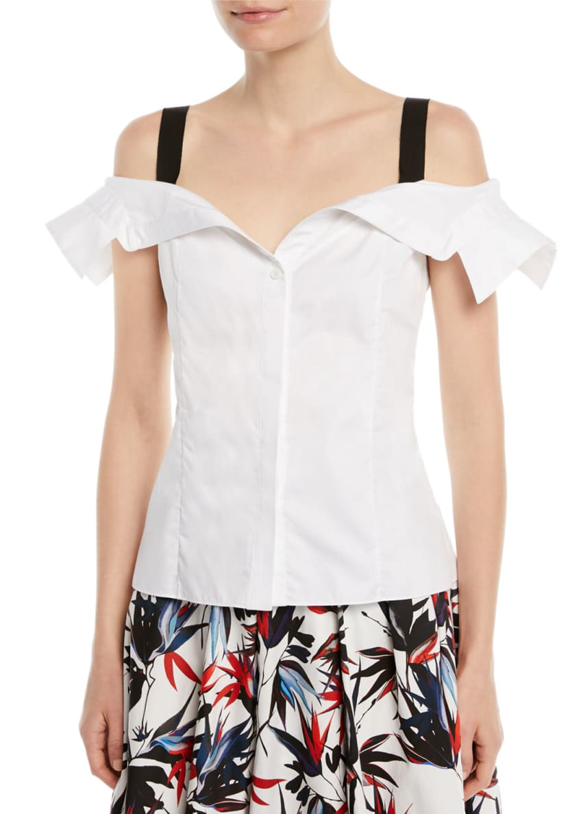 Jason Wu Off-the-Shoulder Button-Down Cotton Top & Matching