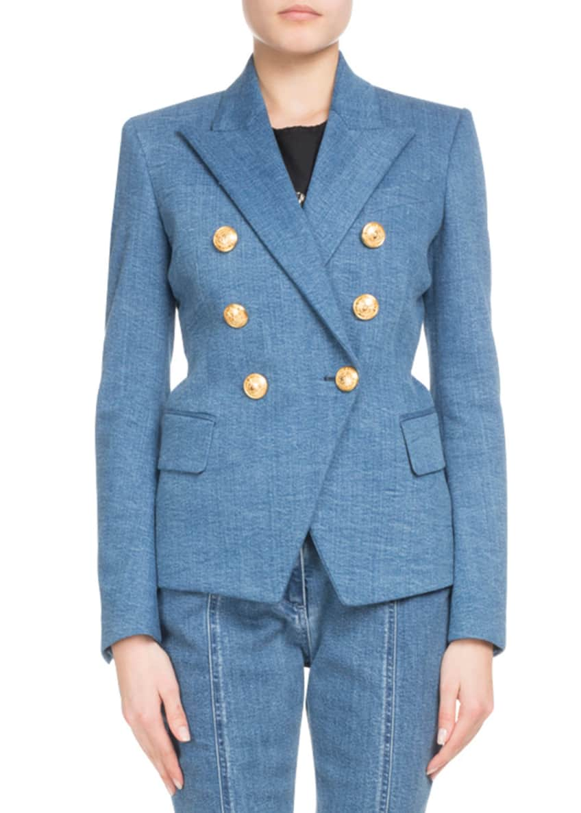 Balmain Double-Breasted Classic Denim Blazer & Matching Items