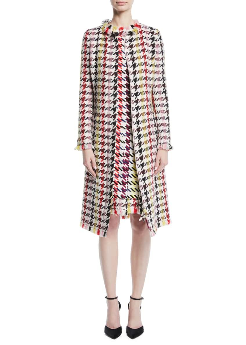 Oscar de la Renta Multicolor Tweed Zip-Front A-Line