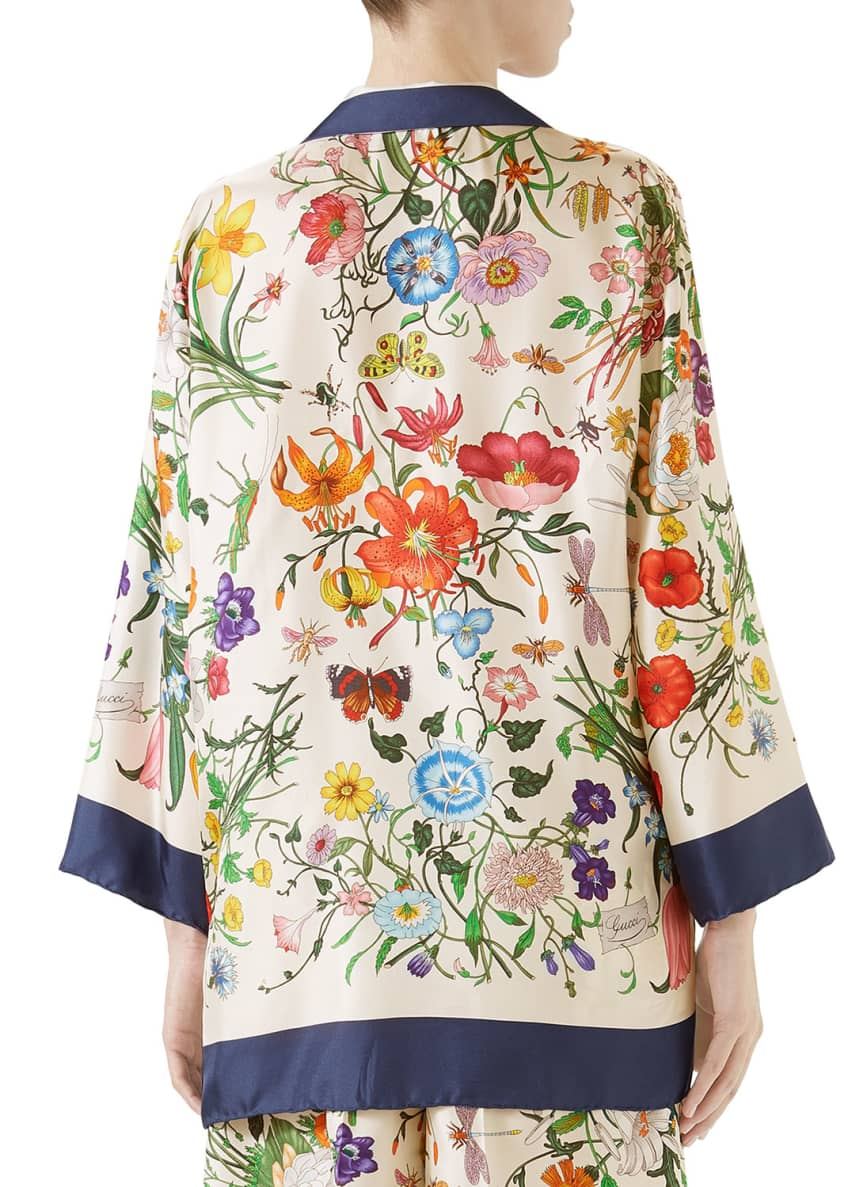 Image 2 of 2: Floral-Print Zip-Front Silk Twill Pajama Top