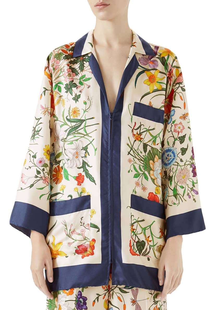 Image 1 of 2: Floral-Print Zip-Front Silk Twill Pajama Top