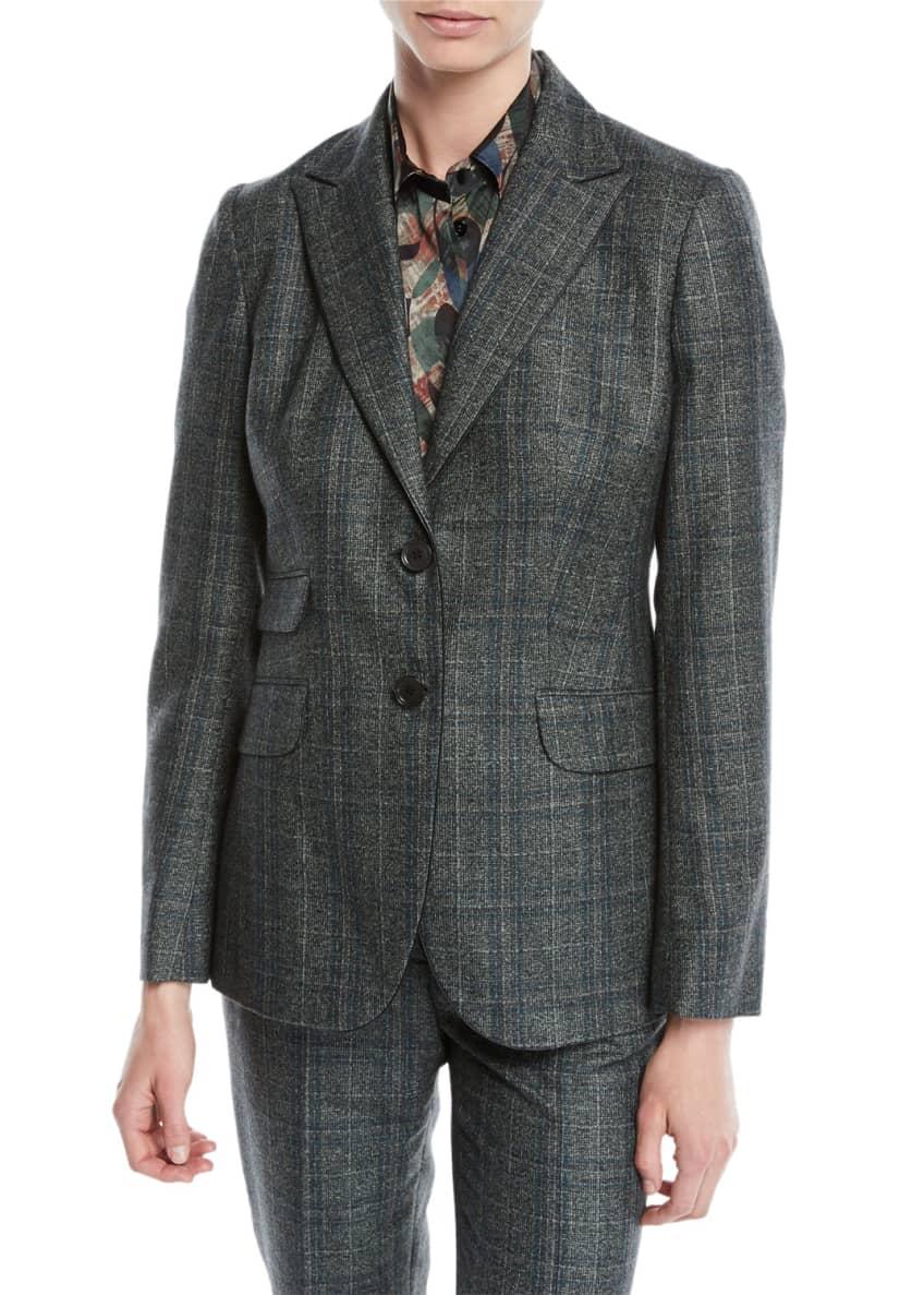 Kiton Two-Button Plaid Cashmere-Blend Jacket & Matching Items