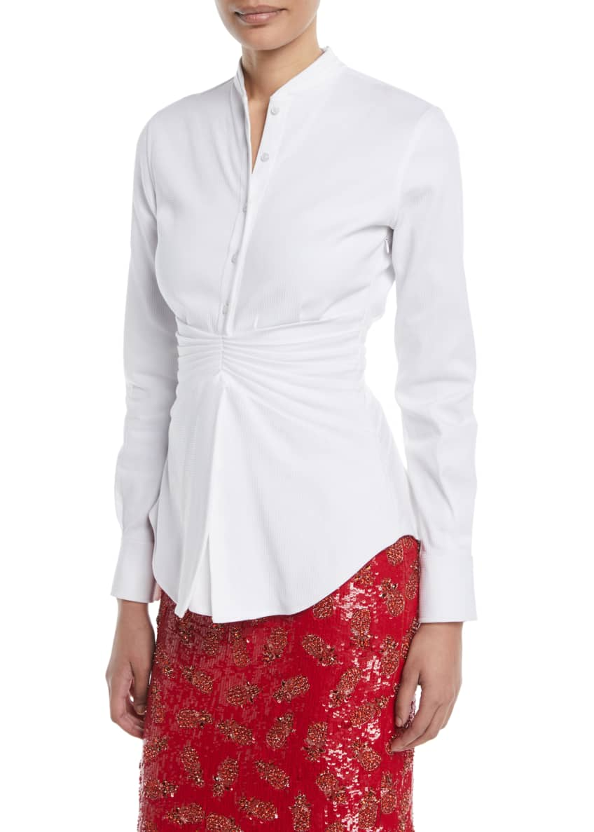 Brandon Maxwell Pleated-Waist Button-Front Long-Sleeve Cotton