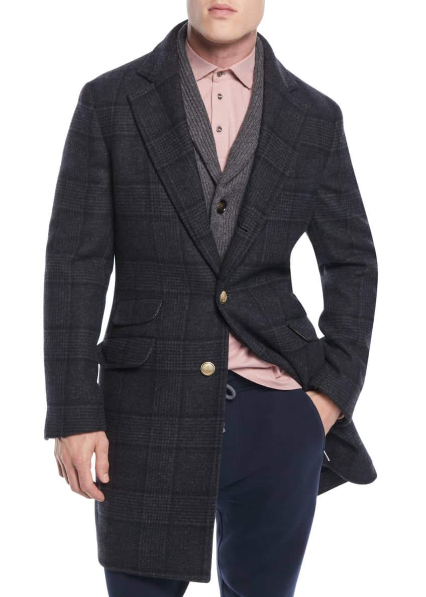 Brunello Cucinelli Men's Plaid Wool Overcoat & Matching