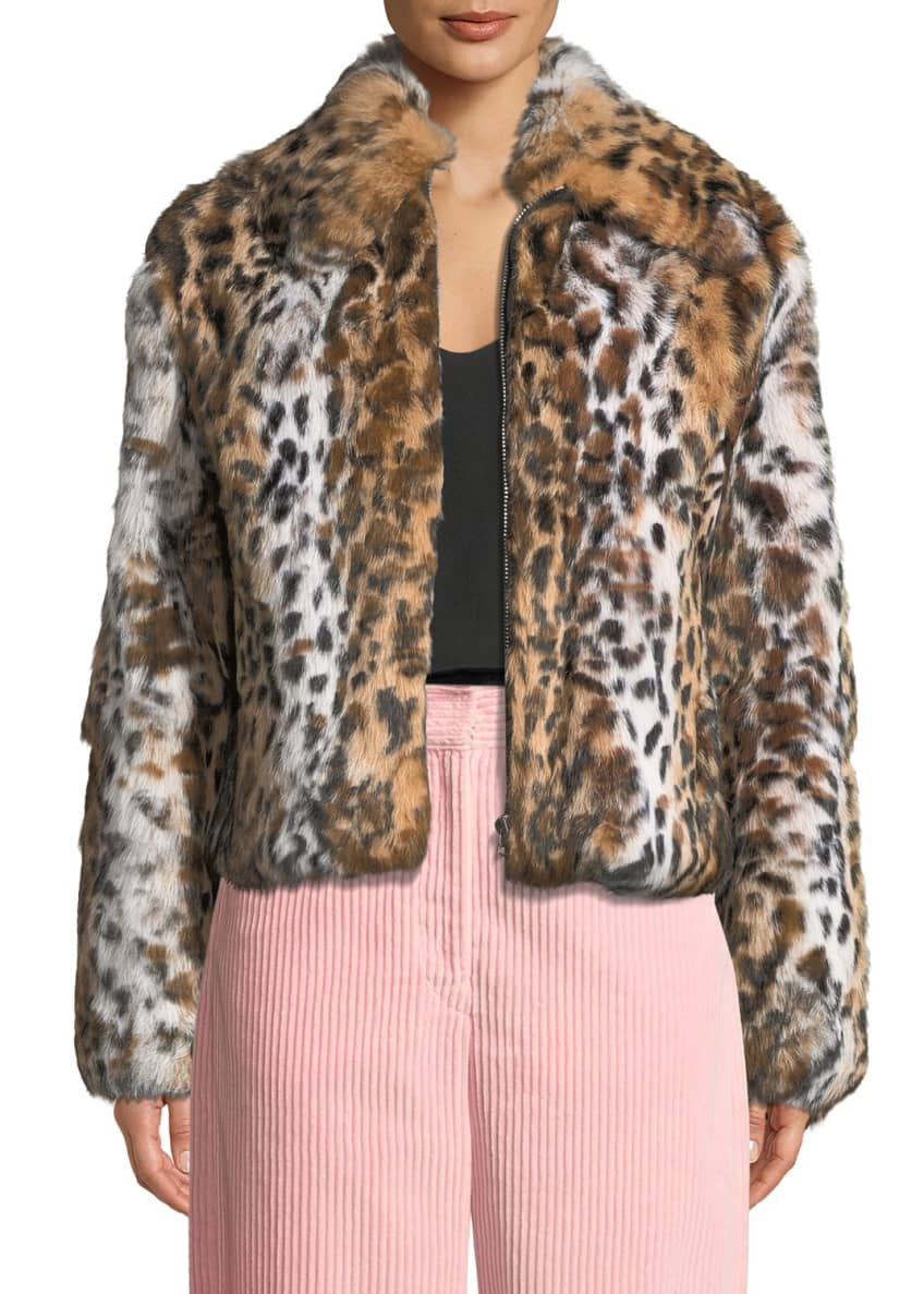 Cedric Charlier Leopard-Print Zip-Front Cropped Jacket & Matching