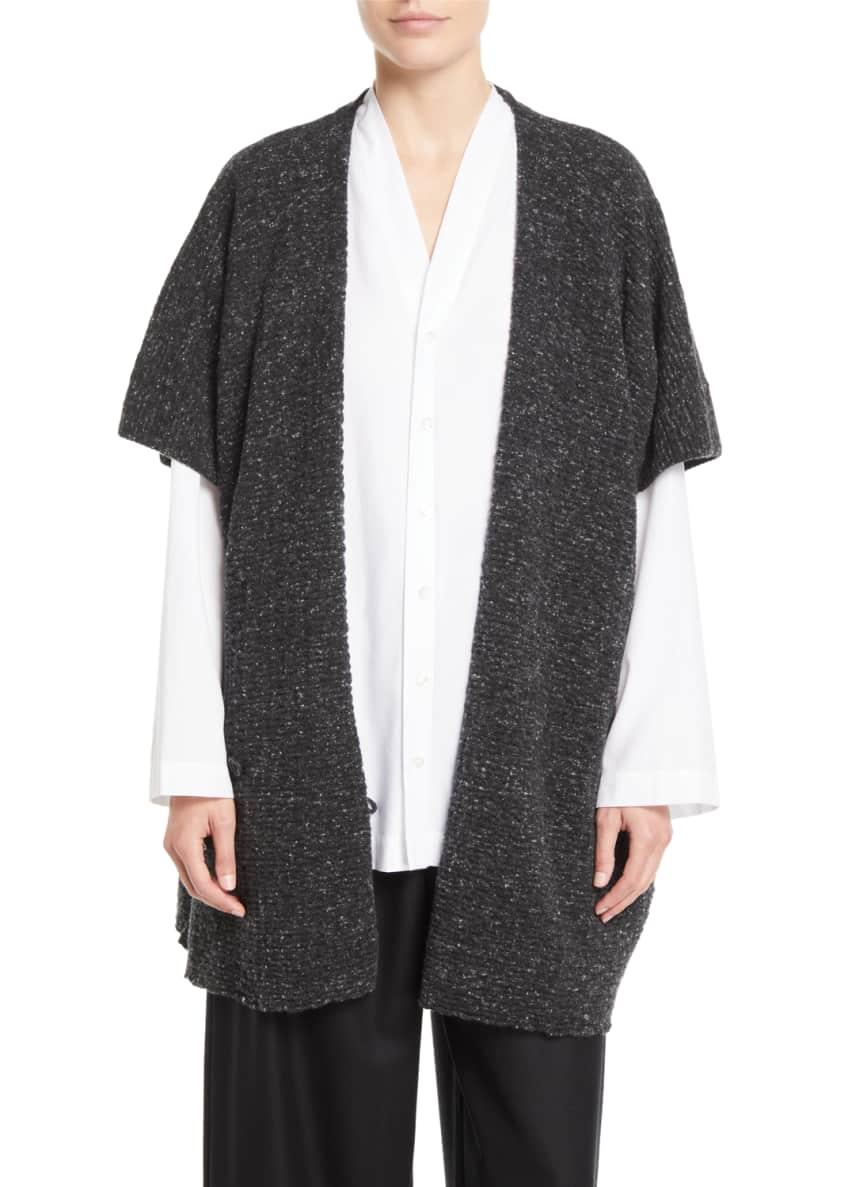 Eskandar V-Neck Button-Front Slim A-Line Brushed Cotton Shirt
