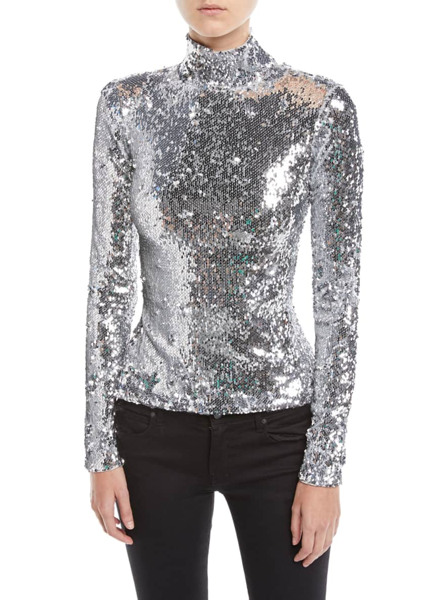 Milly Sequined Long-Sleeve Turtleneck Top & Matching Items