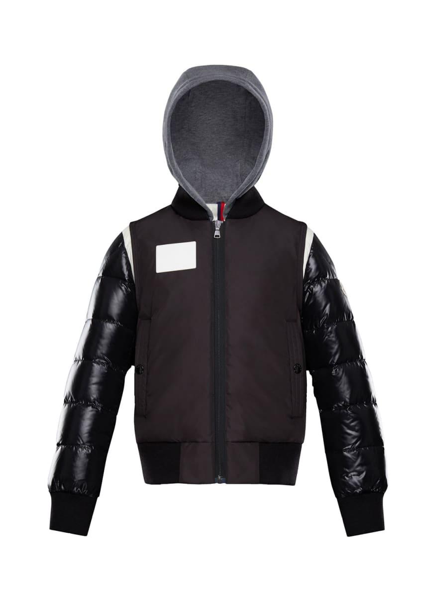 Moncler Montpellier Mixed-Media Hooded Jacket, Size 4-6 &