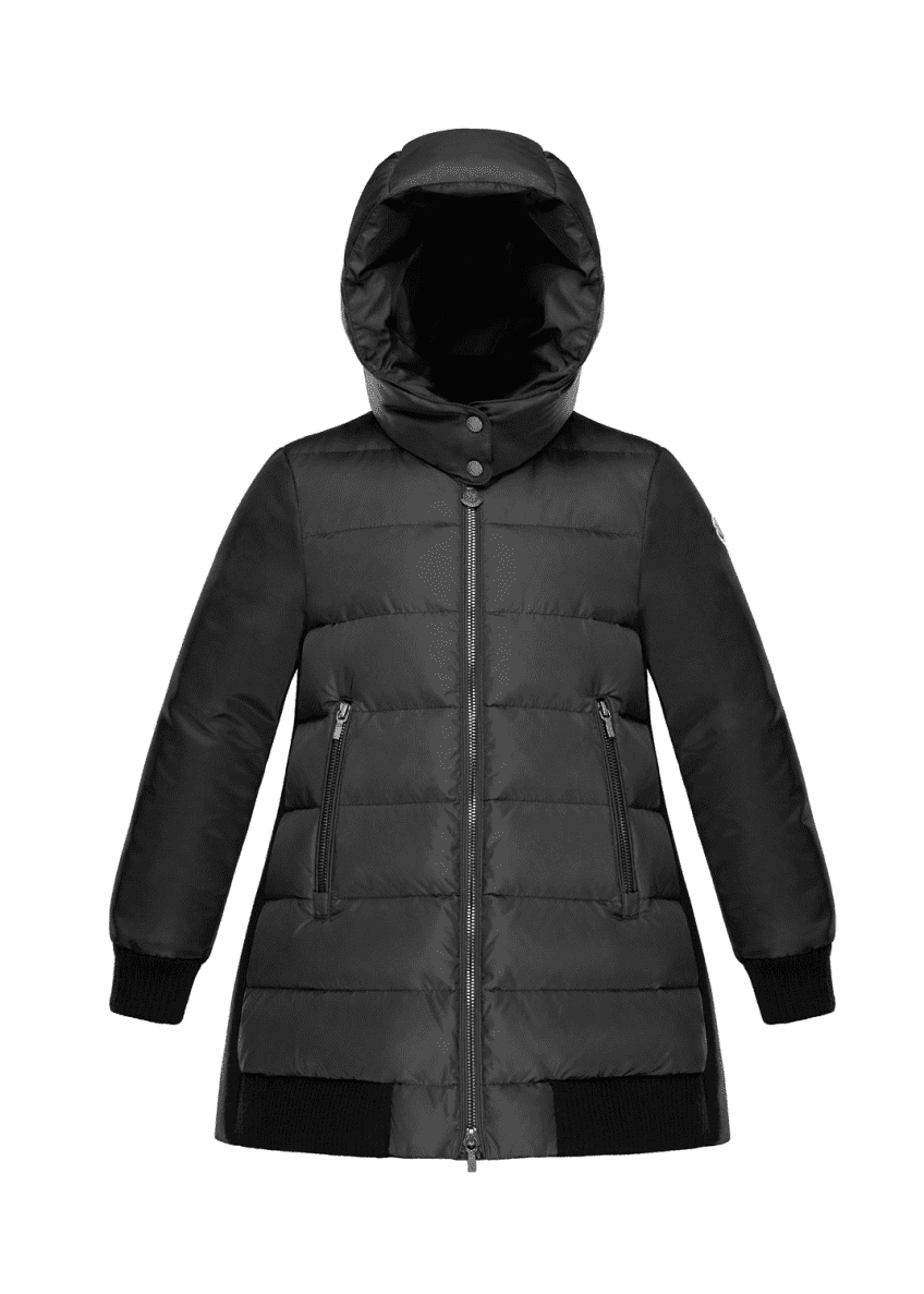 Moncler Blois Quilted Coat w/ Contrast Back, Charcoal,