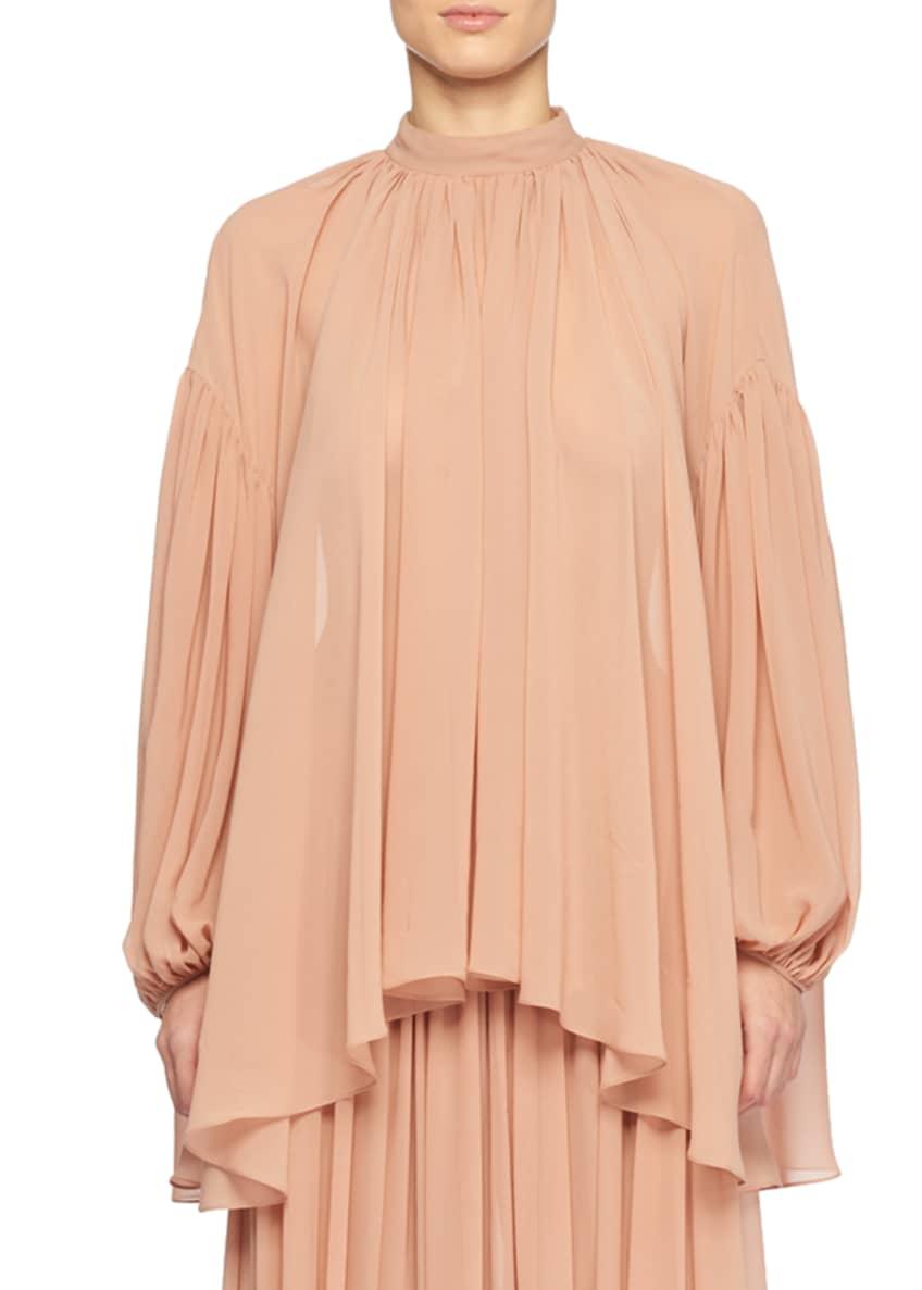Stella McCartney Pleated Silk Peasant Blouse & Matching