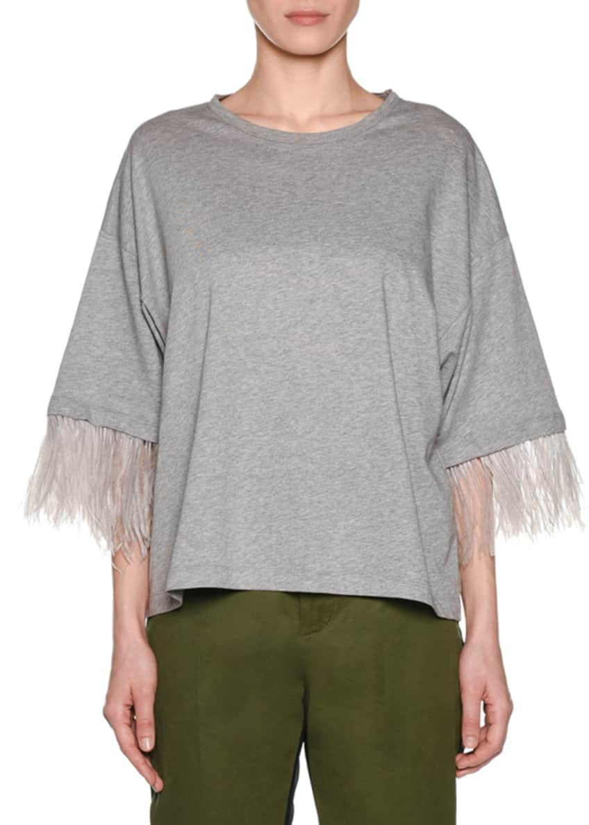 No. 21 Feather-Sleeve Oversized Crewneck Tee & Matching