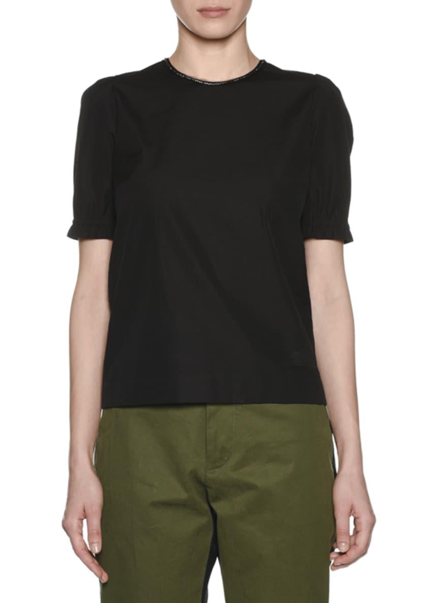 No. 21 Embellished Scoop-Neck Cotton T-Shirt & Matching