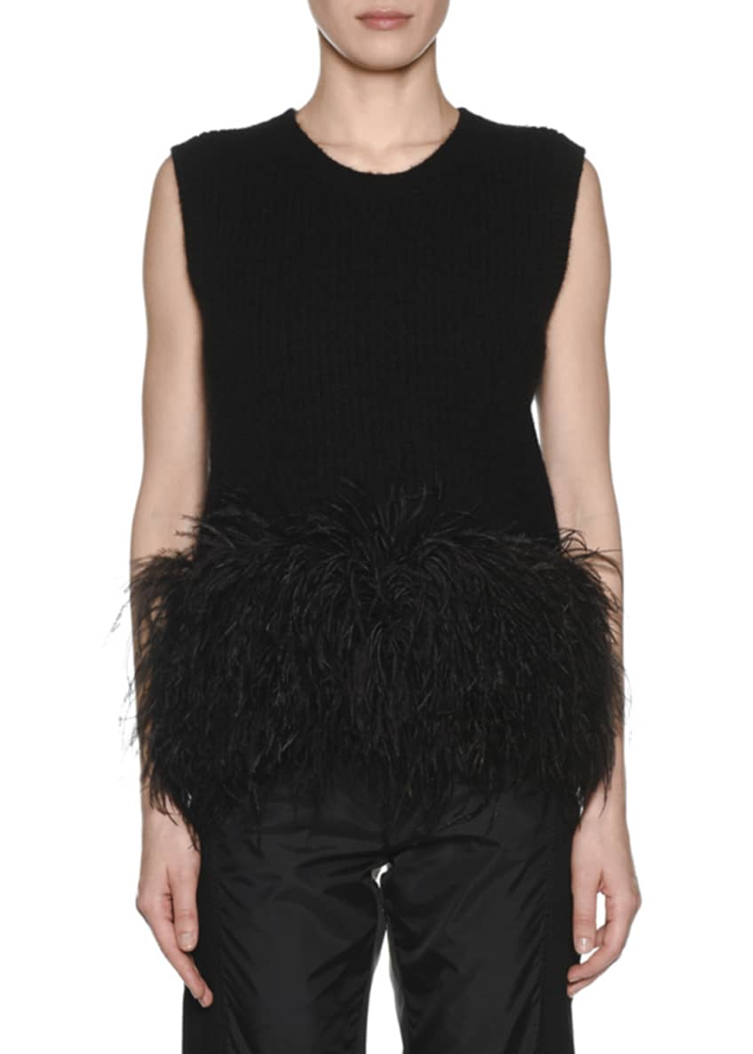 No. 21 Scoop-Neck Wool Feather Tank & Matching