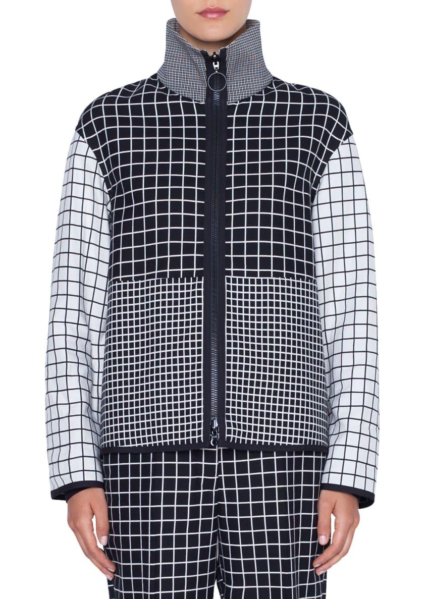 Akris punto Mixed-Grid Stand-Collar Zip-Front Jacket & Matching