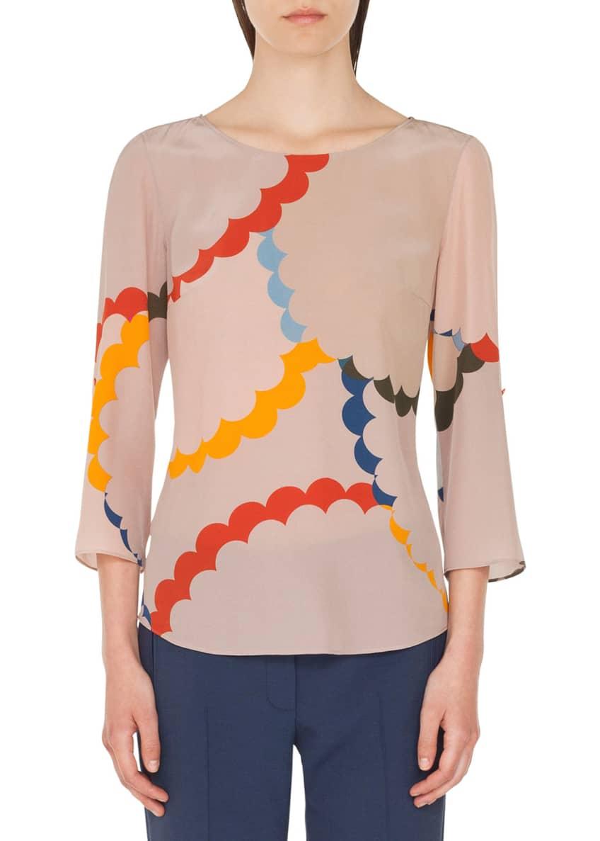 Akris punto Bracelet-Sleeve Memphis-Nuvola Print Silk Blouse &