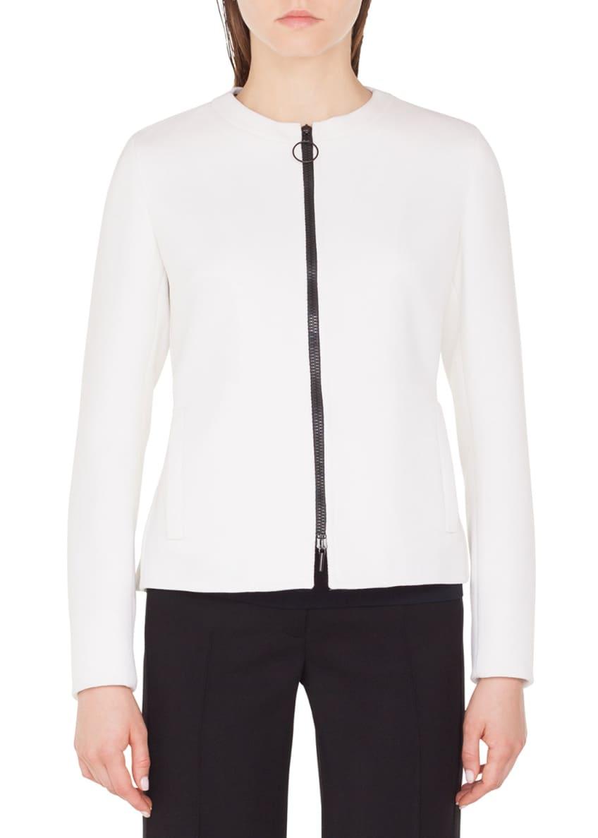 Akris punto Crewneck Zip-Front Wool Peplum-Back Jacket &
