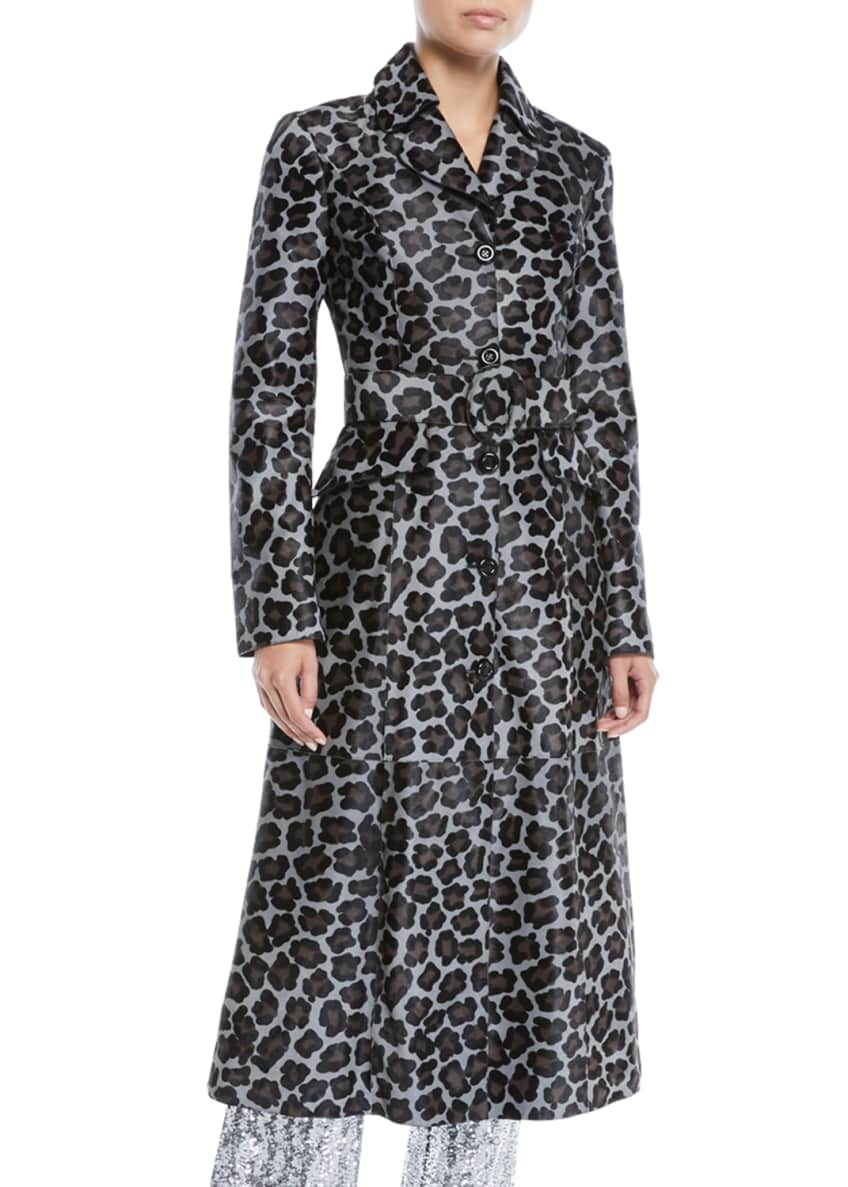 Michael Kors Collection Button-Front Belted Leopard-Print