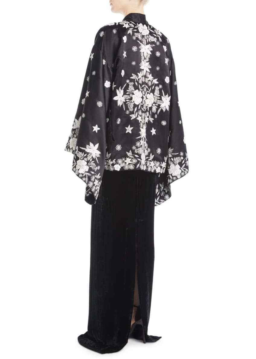 Naeem Khan Floral-Embroidered Silk Coat & Matching Items