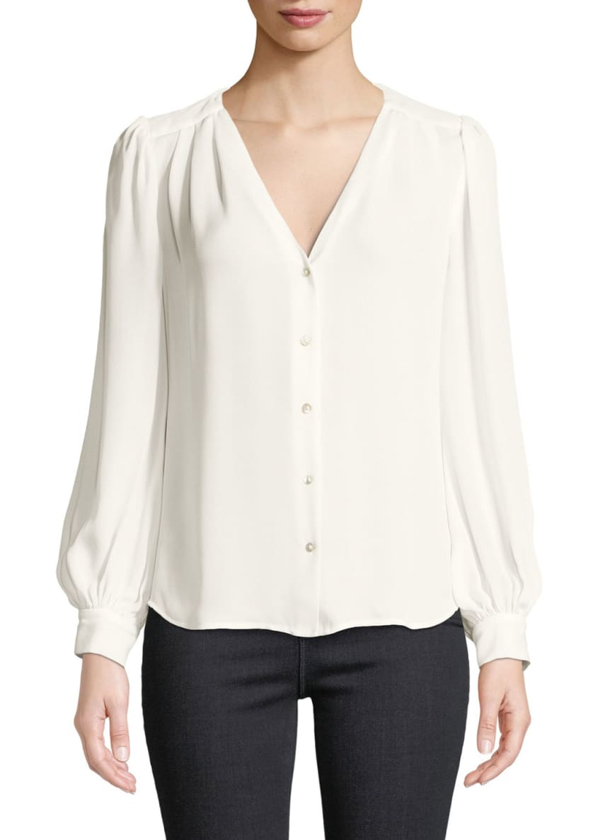 L'Agence Giana Pleated Button-Front Silk Blouse & Matching