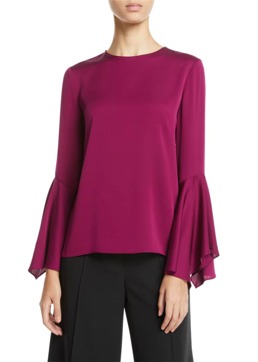 Milly Holly Jewel-Neck Flared-Sleeves Stretch-Silk Top & Matching
