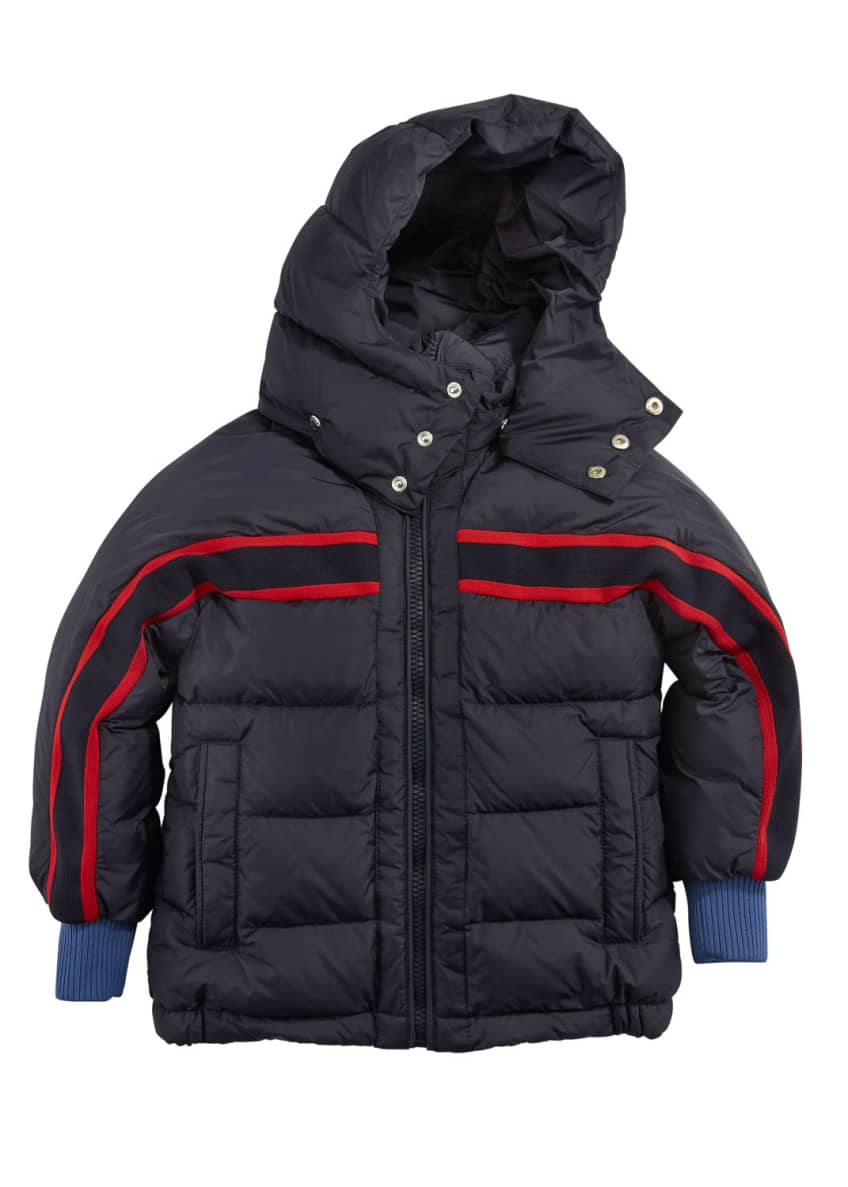 Moncler Richard Striped-Trim Quilted Jacket, Size 4-6 &