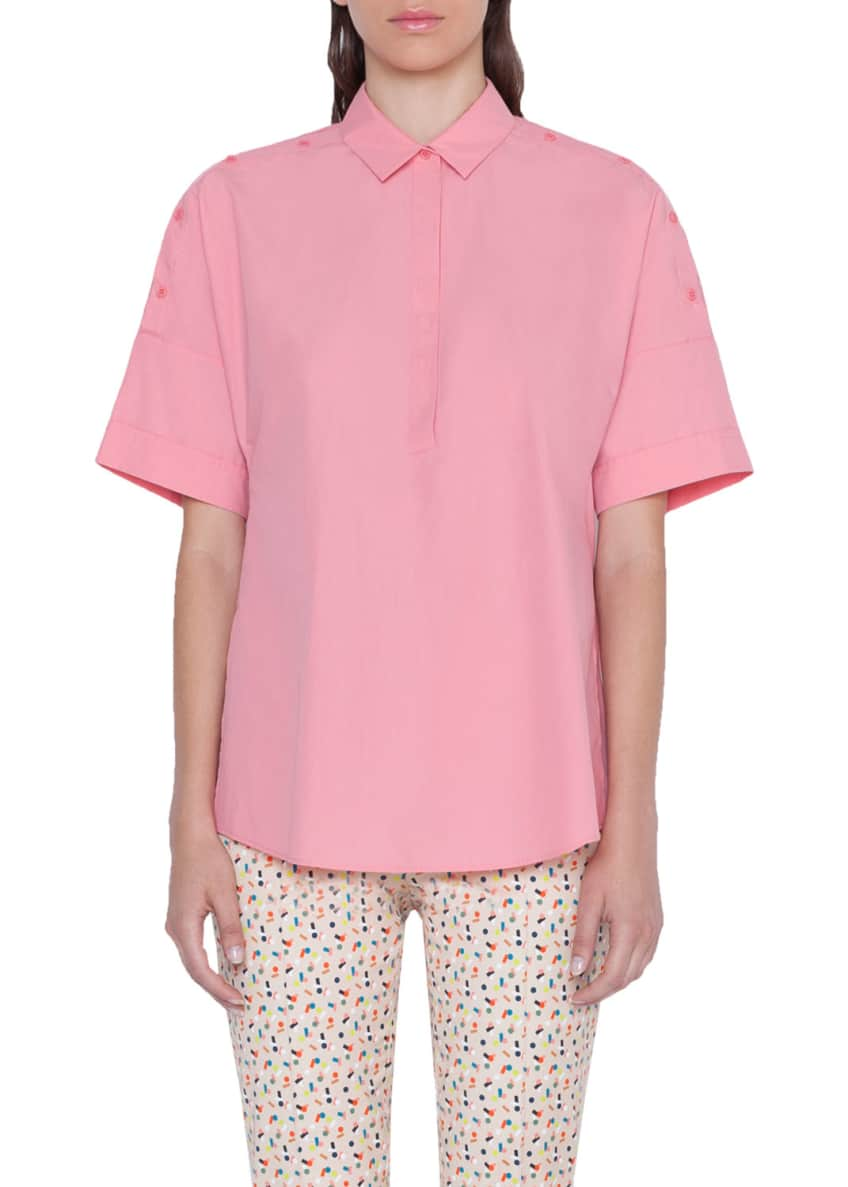 Akris punto Cotton Kimono Style Button-Shoulder Blouse &