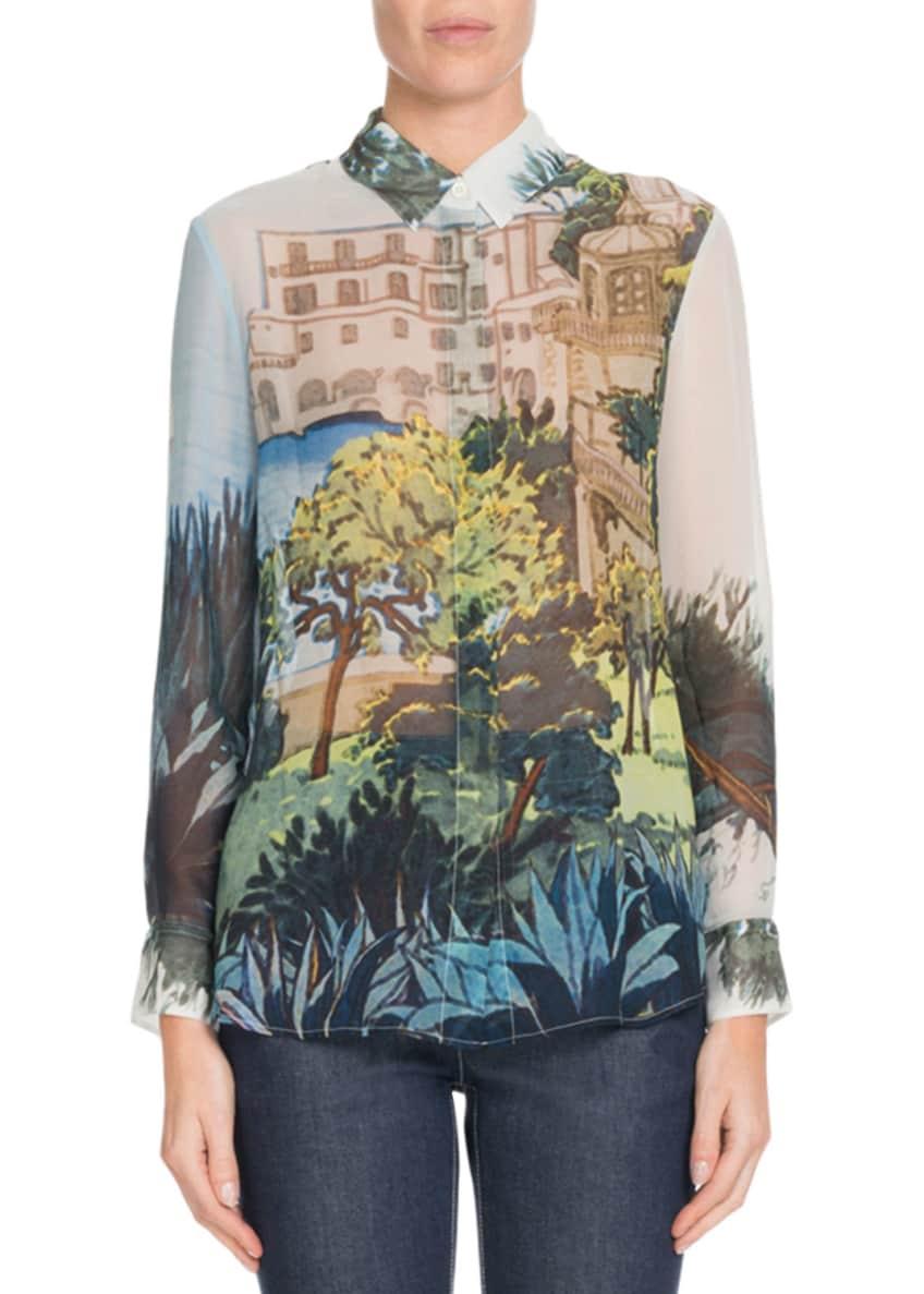Altuzarra Button-Front Landscape-Print Silk Blouse & Matching