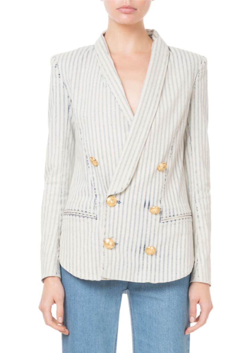 Balmain Pinstriped Golden-Button Front Blazer & Matching Items