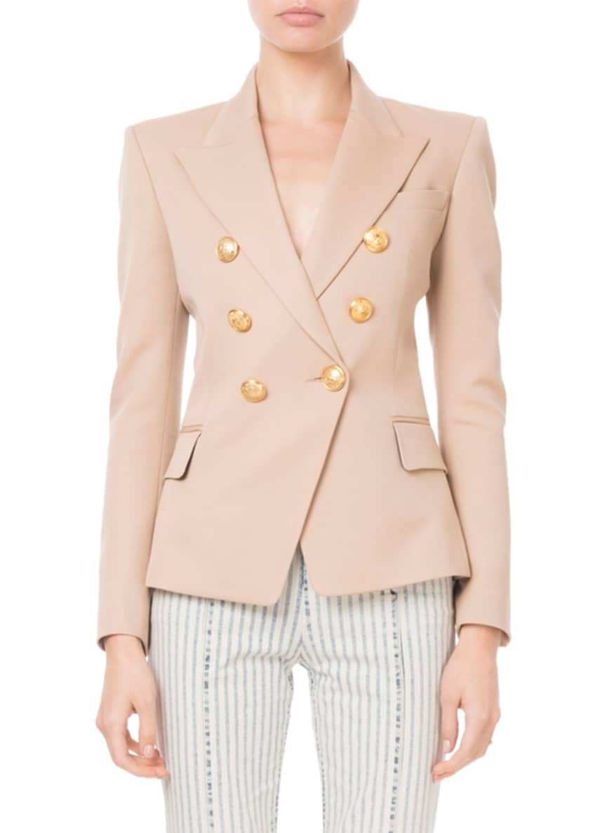 Balmain Double-Breasted Silver-Button Classic Blazer & Matching