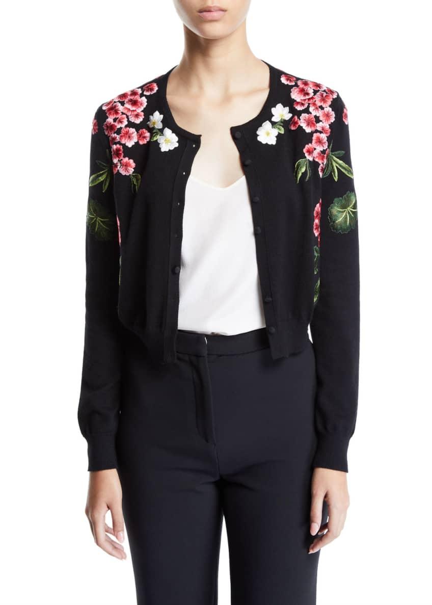 Oscar de la Renta Floral-Embroidered Cardigan & Matching
