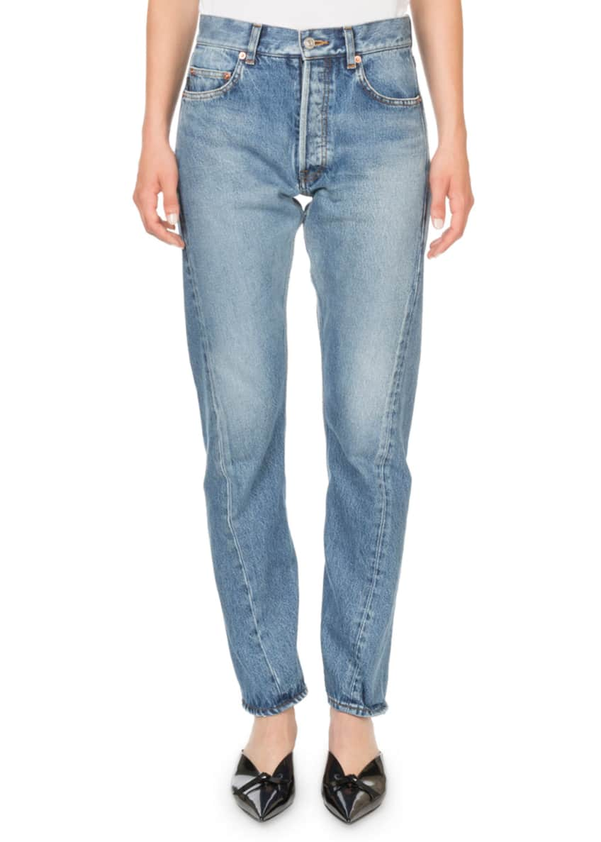 Image 1 of 2: Mid-Rise Twisted Leg Jeans