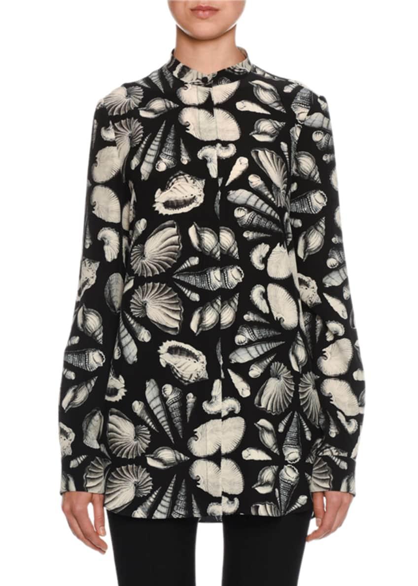 Alexander McQueen Mandarin-Collar Seashell-Print Blouse &