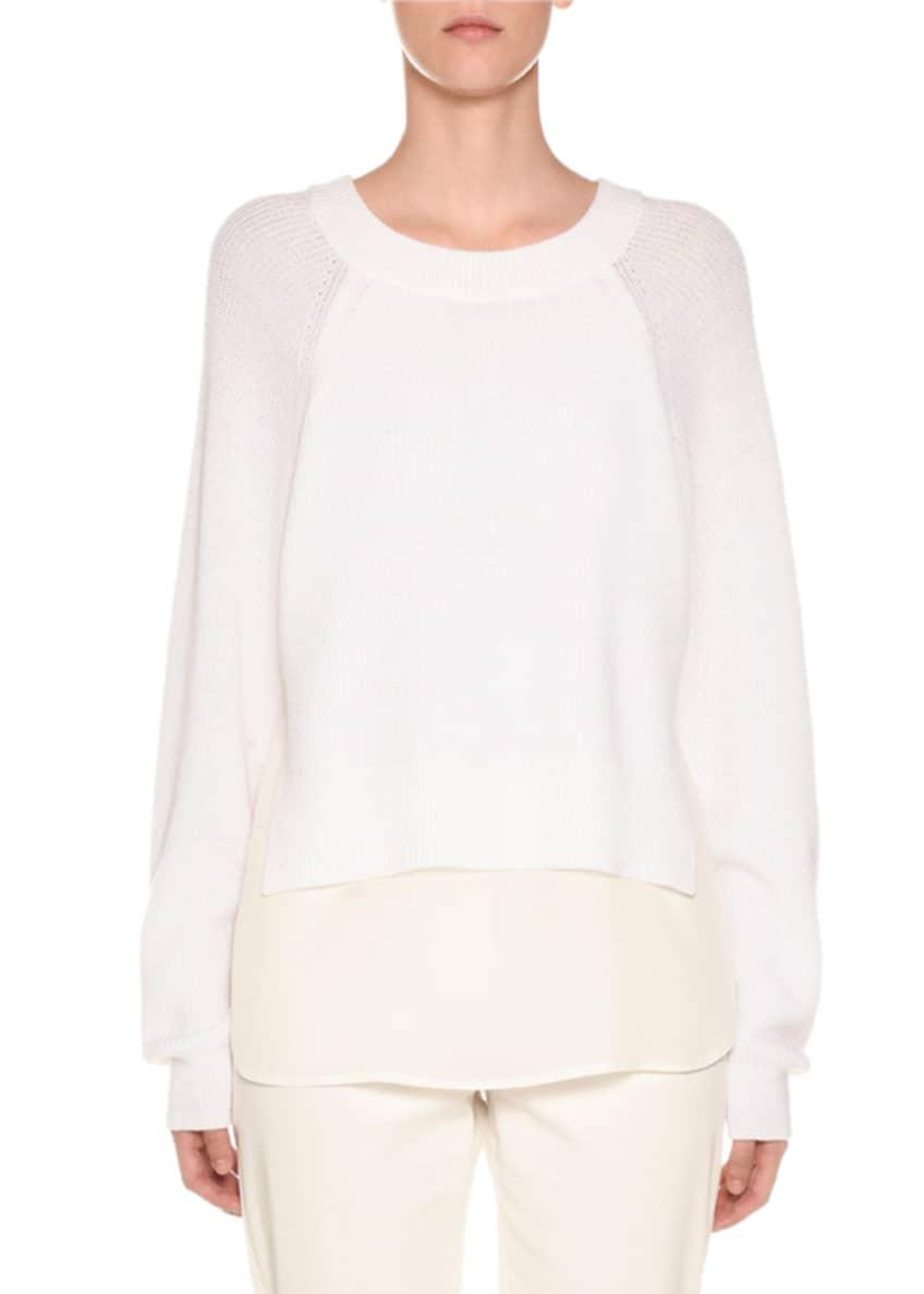Agnona Crewneck Wool Sweater with Crepe de Chine
