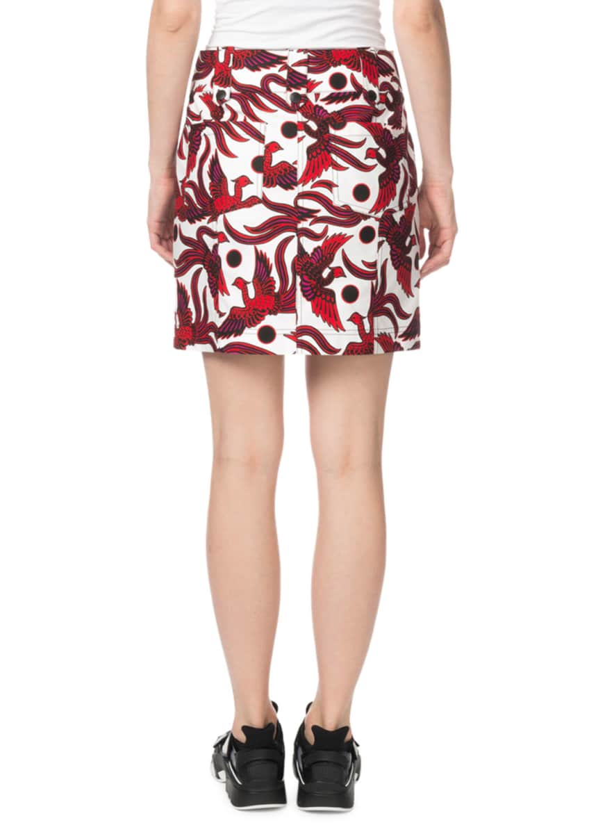 Image 2 of 4: Structured Phoenix-Print Mini Skirt