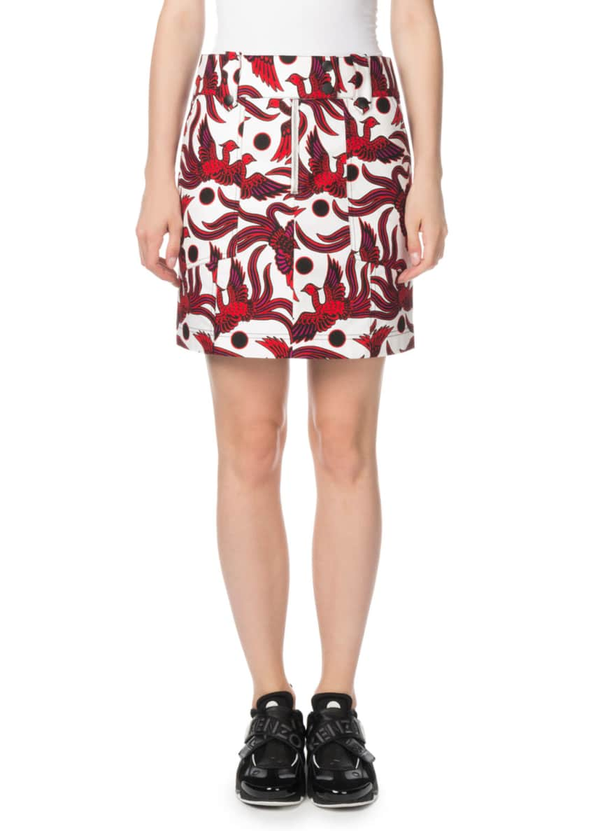 Structured Phoenix-Print Mini Skirt
