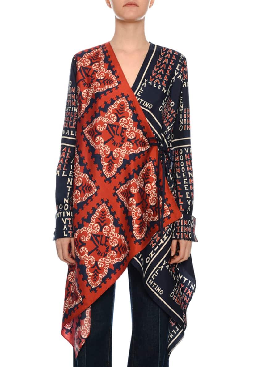 Valentino Bandana-Print Silk Handkerchief Asymmetric Blouse &